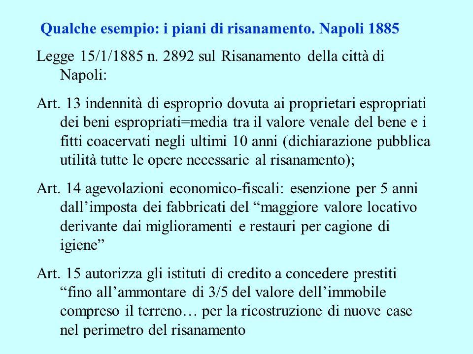 Qualche esempio: i piani di risanamento. Napoli 1885 Legge 15/1/1885 n. 2892 sul Risanamento della città di Napoli: Art. 13 indennità di esproprio dov