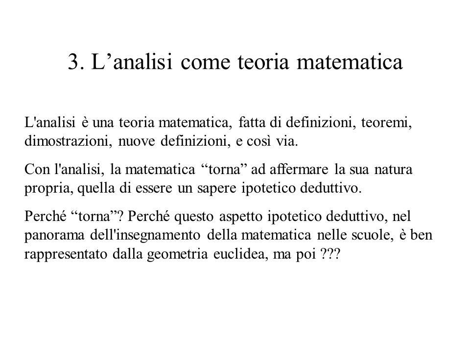3. Lanalisi come teoria matematica L'analisi è una teoria matematica, fatta di definizioni, teoremi, dimostrazioni, nuove definizioni, e così via. Con
