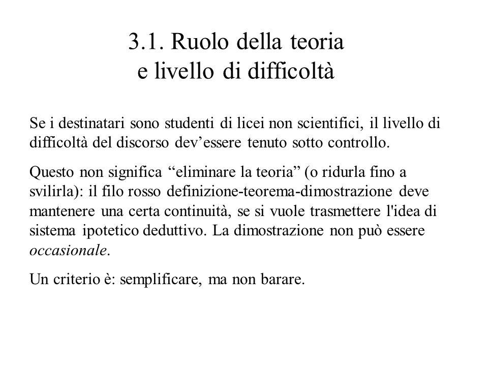 3.1. Ruolo della teoria e livello di difficoltà Se i destinatari sono studenti di licei non scientifici, il livello di difficoltà del discorso devesse