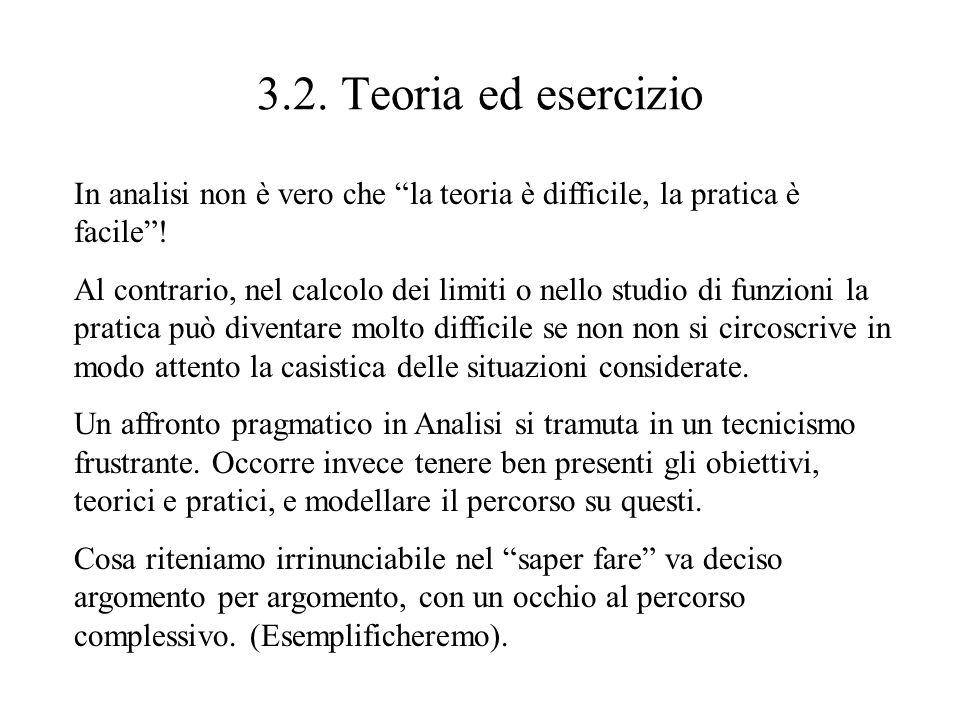 3.2. Teoria ed esercizio In analisi non è vero che la teoria è difficile, la pratica è facile! Al contrario, nel calcolo dei limiti o nello studio di