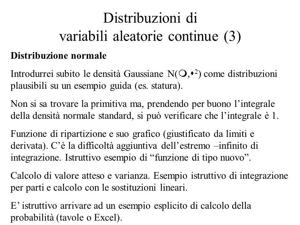 Distribuzioni di variabili aleatorie continue (3) Distribuzione normale Introdurrei subito le densità Gaussiane N(, 2 ) come distribuzioni plausibili