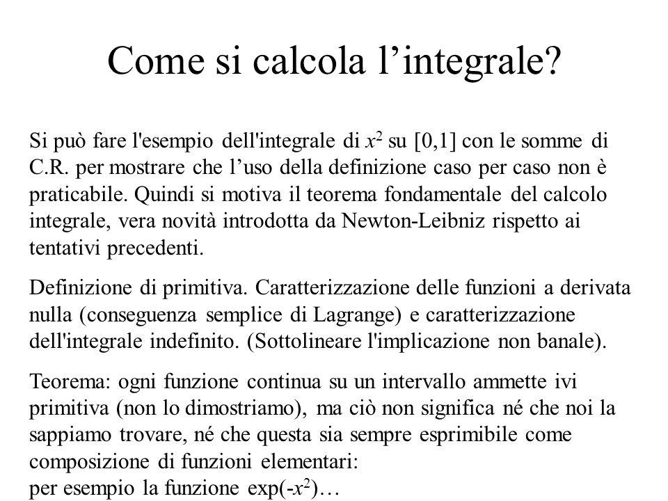Come si calcola lintegrale? Si può fare l'esempio dell'integrale di x 2 su [0,1] con le somme di C.R. per mostrare che luso della definizione caso per