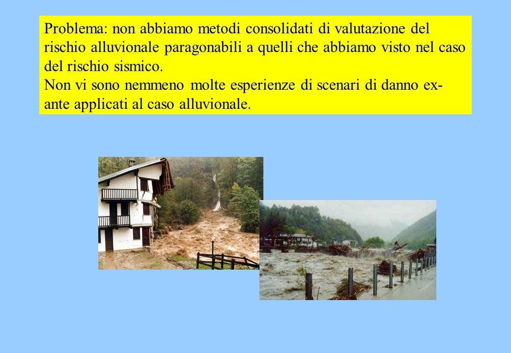 Problema: non abbiamo metodi consolidati di valutazione del rischio alluvionale paragonabili a quelli che abbiamo visto nel caso del rischio sismico.