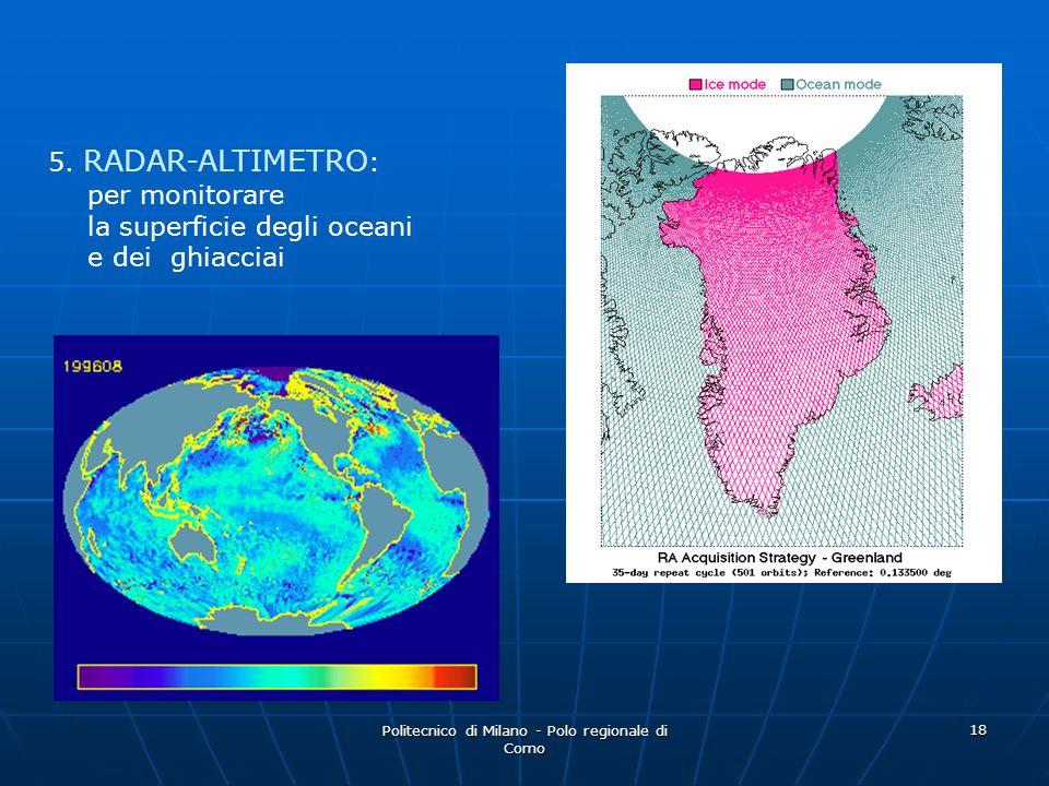 Politecnico di Milano - Polo regionale di Como 18 5. RADAR-ALTIMETRO : per monitorare la superficie degli oceani e dei ghiacciai