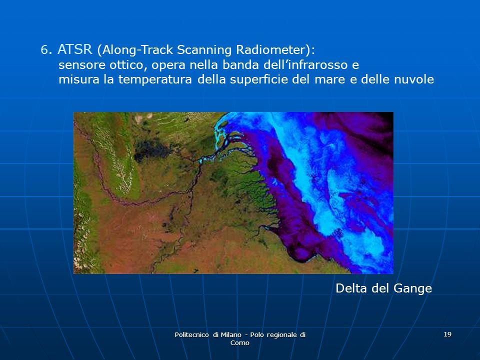 Politecnico di Milano - Polo regionale di Como 19 Delta del Gange 6. ATSR (Along-Track Scanning Radiometer): sensore ottico, opera nella banda dellinf