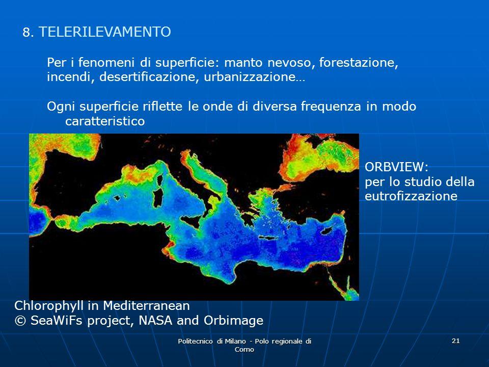 Politecnico di Milano - Polo regionale di Como 21 8. TELERILEVAMENTO Per i fenomeni di superficie: manto nevoso, forestazione, incendi, desertificazio