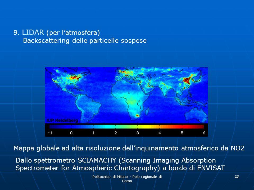 Politecnico di Milano - Polo regionale di Como 23 9. LIDAR (per latmosfera) Backscattering delle particelle sospese Mappa globale ad alta risoluzione