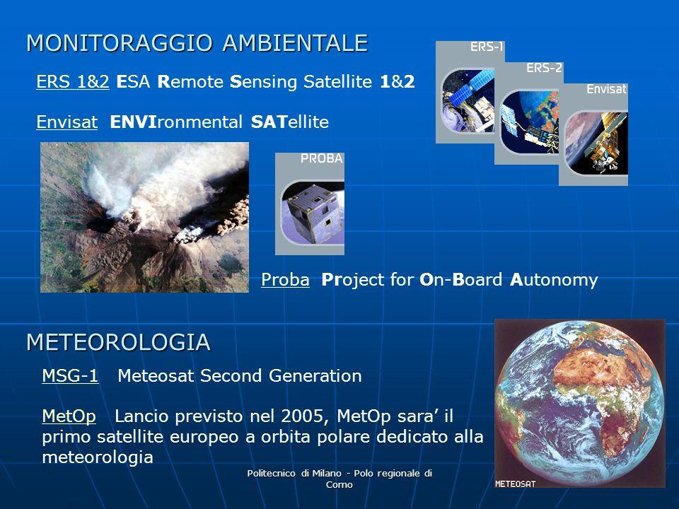 Politecnico di Milano - Polo regionale di Como 6 MSG-1MSG-1 Meteosat Second Generation MetOpMetOp Lancio previsto nel 2005, MetOp sara il primo satell
