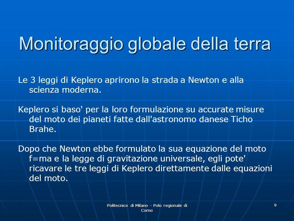 Politecnico di Milano - Polo regionale di Como 9 Monitoraggio globale della terra Le 3 leggi di Keplero aprirono la strada a Newton e alla scienza mod