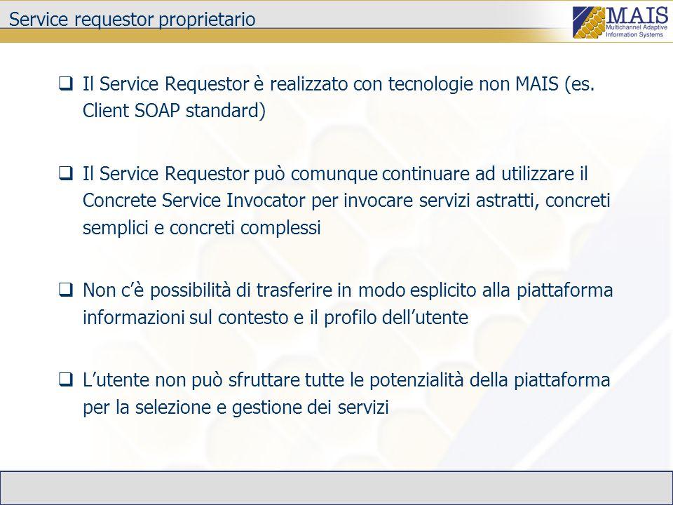 Service requestor proprietario Il Service Requestor è realizzato con tecnologie non MAIS (es.