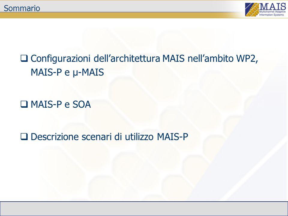 Conclusioni Nellambito WP2 esistono 2 configurazioni della piattaforma MAIS MAIS-P µ-MAIS In MAIS-P possono essere identificati diversi scenari di invocazione Quando il Service Requestor è realizzato con teconologia MAIS è possibile sfruttare al meglio le potenzialità della piattaforma