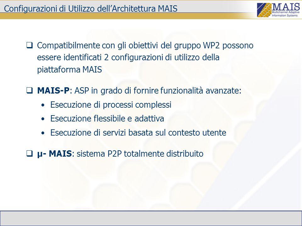 MAIS-P e SOA La piattaforma MAIS si caratterizza per la sua capacità di gestire servizi in modo avanzato.