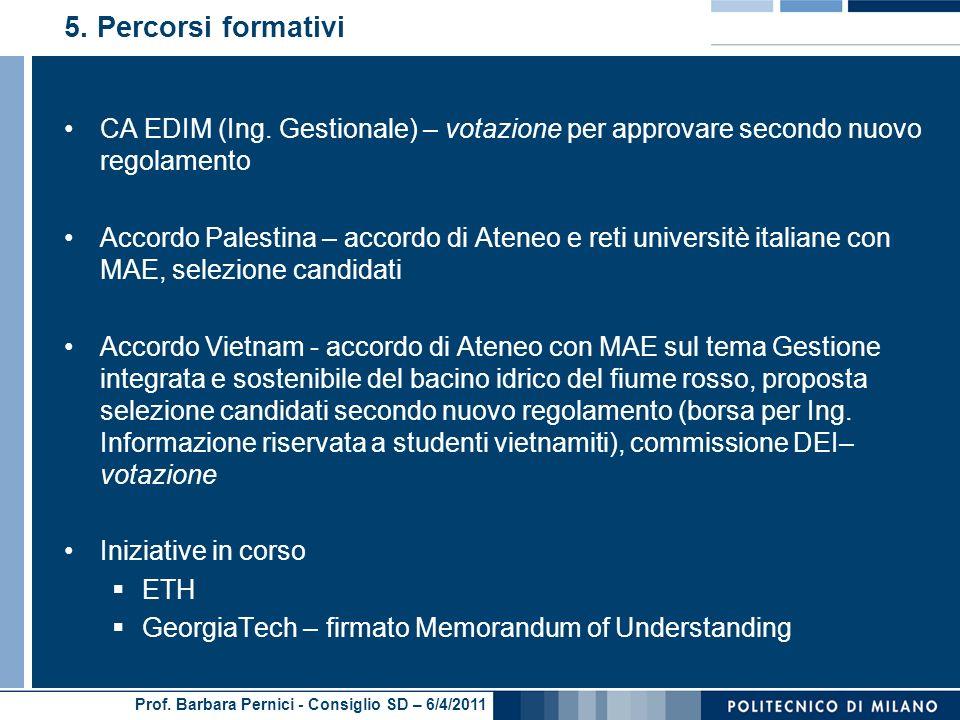 Prof. Barbara Pernici - Consiglio SD – 6/4/2011 5.