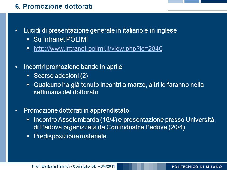Prof. Barbara Pernici - Consiglio SD – 6/4/2011 6.