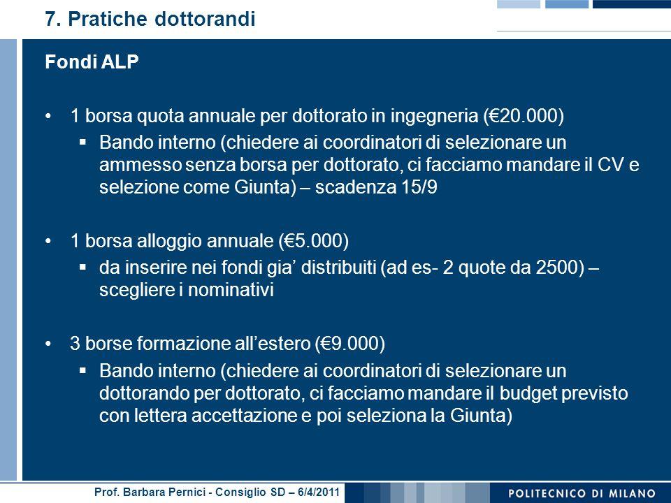 Prof. Barbara Pernici - Consiglio SD – 6/4/2011 7.