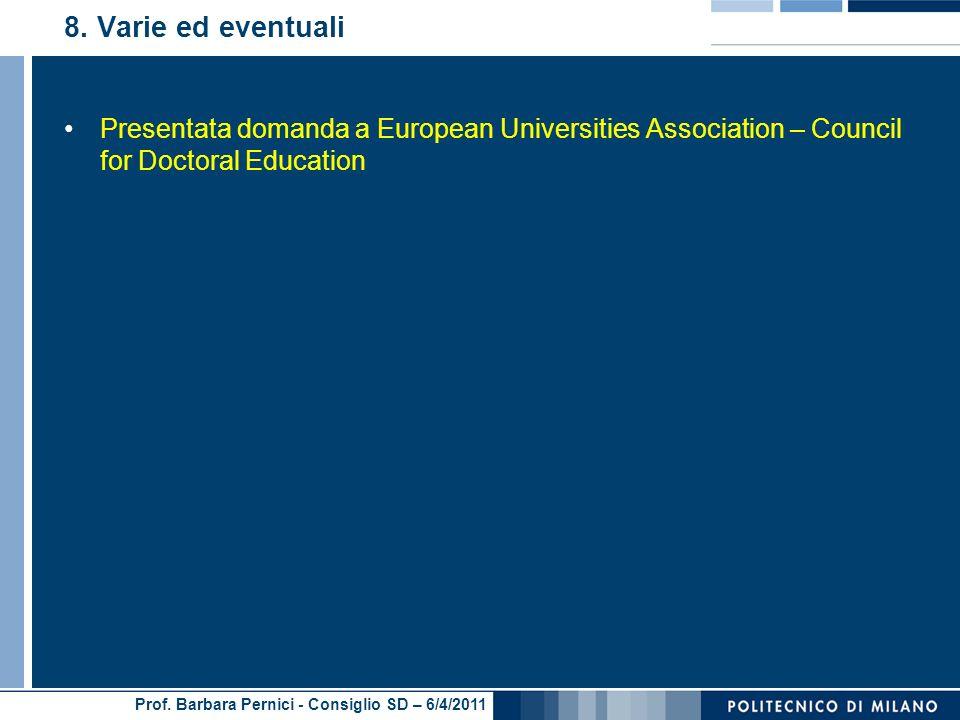 Prof. Barbara Pernici - Consiglio SD – 6/4/2011 8.