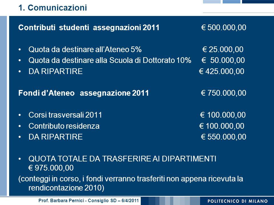 Prof. Barbara Pernici - Consiglio SD – 6/4/2011 1.