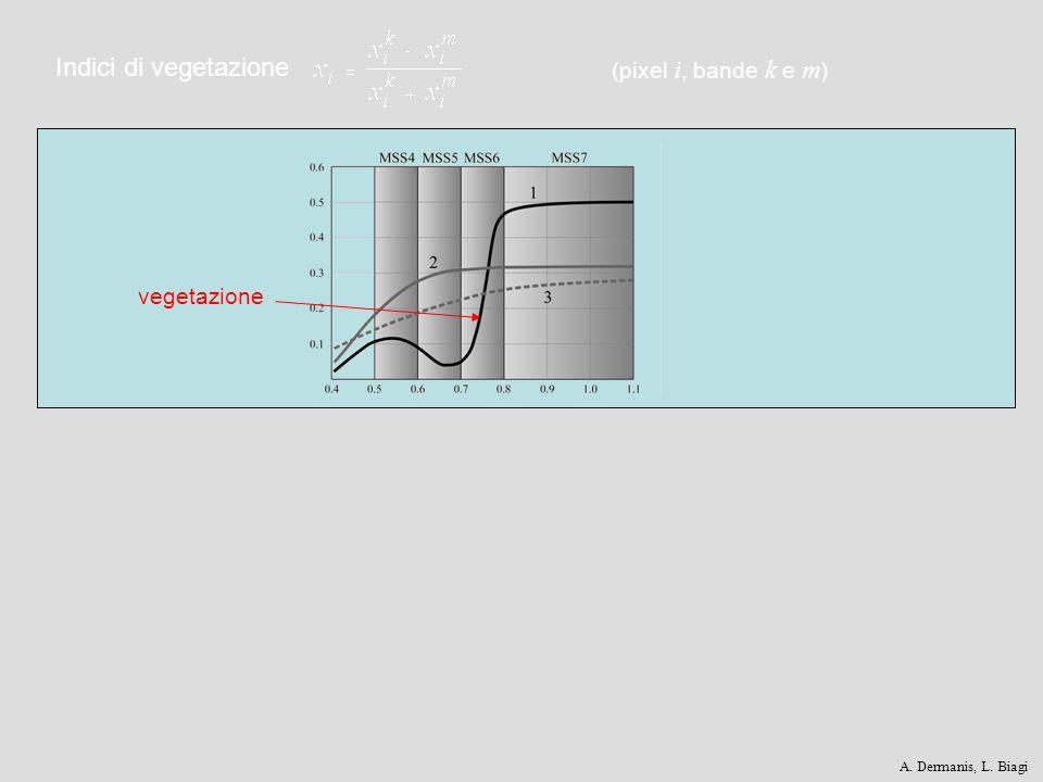 Indici di vegetazione (pixel i, bande k e m ) vegetazione A. Dermanis, L. Biagi