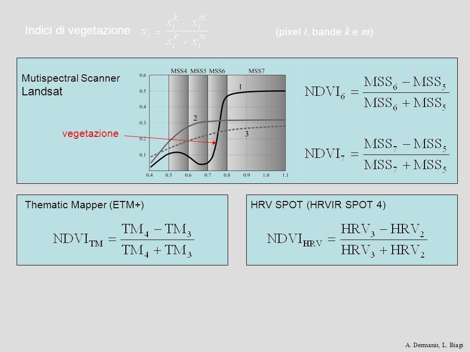 Indici di vegetazione Thematic Mapper (ETM+)HRV SPOT (HRVIR SPOT 4) Mutispectral Scanner Landsat (pixel i, bande k e m ) vegetazione A. Dermanis, L. B
