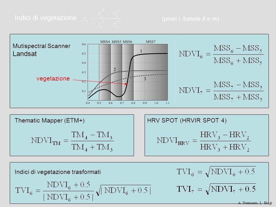Indici di vegetazione Thematic Mapper (ETM+)HRV SPOT (HRVIR SPOT 4) Mutispectral Scanner Landsat Indici di vegetazione trasformati (pixel i, bande k e