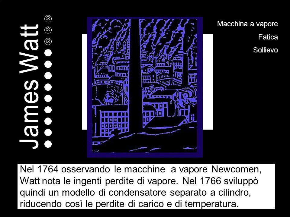 5 10 15 20 25 30 35 40 45 50 55 60 Macchina a vapore Fatica Sollievo Nel 1764 osservando le macchine a vapore Newcomen, Watt nota le ingenti perdite di vapore.