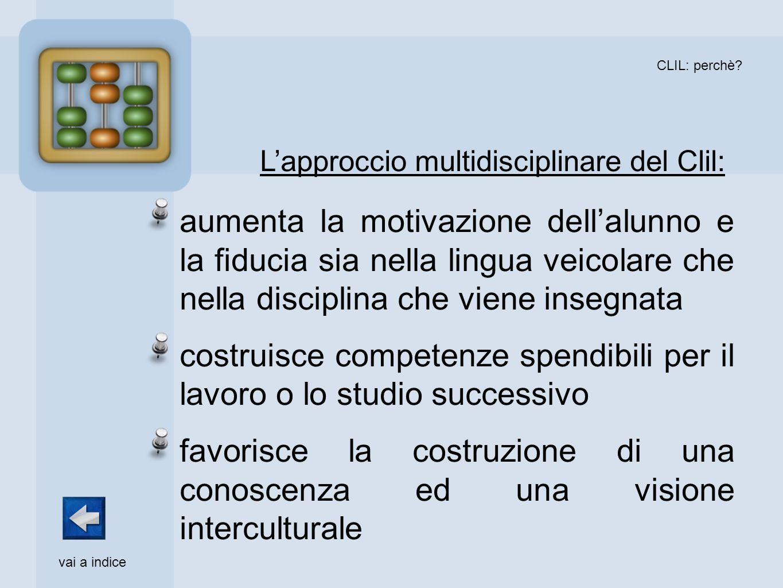 CLIL: perchè? aumenta la motivazione dellalunno e la fiducia sia nella lingua veicolare che nella disciplina che viene insegnata costruisce competenze