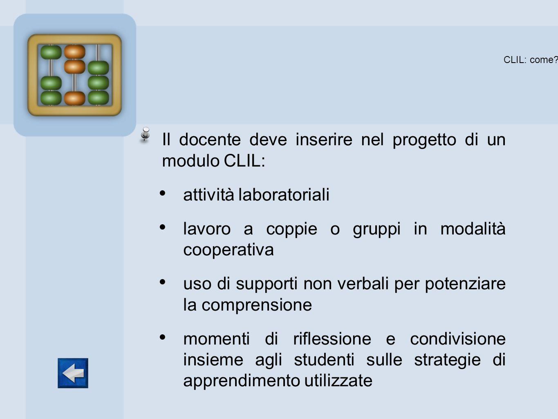 Il docente deve inserire nel progetto di un modulo CLIL: attività laboratoriali lavoro a coppie o gruppi in modalità cooperativa uso di supporti non v