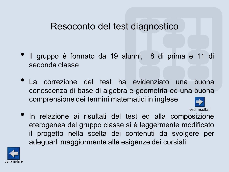Resoconto del test diagnostico Il gruppo è formato da 19 alunni, 8 di prima e 11 di seconda classe La correzione del test ha evidenziato una buona con