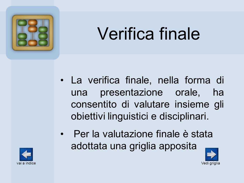 Verifica finale La verifica finale, nella forma di una presentazione orale, ha consentito di valutare insieme gli obiettivi linguistici e disciplinari