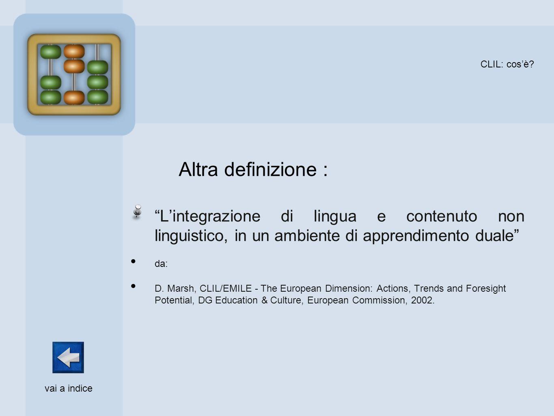 CLIL: cosè? Lintegrazione di lingua e contenuto non linguistico, in un ambiente di apprendimento duale da: D. Marsh, CLIL/EMILE - The European Dimensi