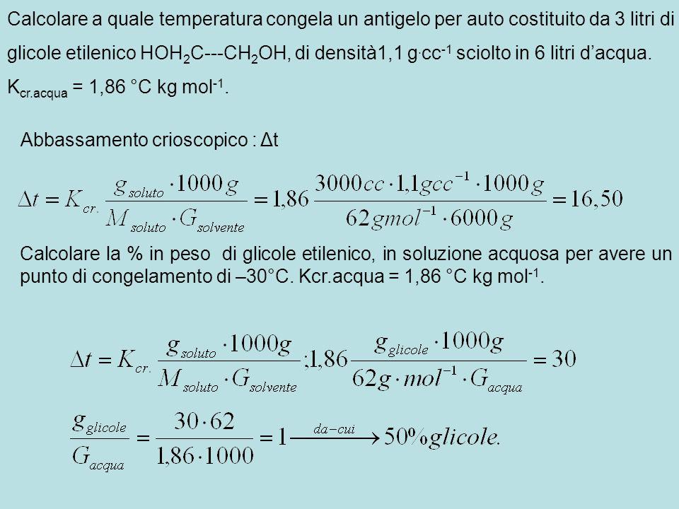 Calcolare a quale temperatura congela un antigelo per auto costituito da 3 litri di glicole etilenico HOH 2 C---CH 2 OH, di densità1,1 g. cc -1 sciolt