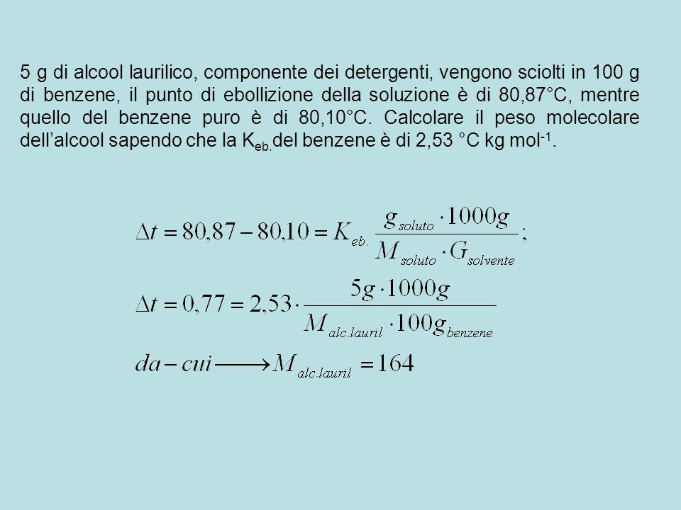 5 g di alcool laurilico, componente dei detergenti, vengono sciolti in 100 g di benzene, il punto di ebollizione della soluzione è di 80,87°C, mentre