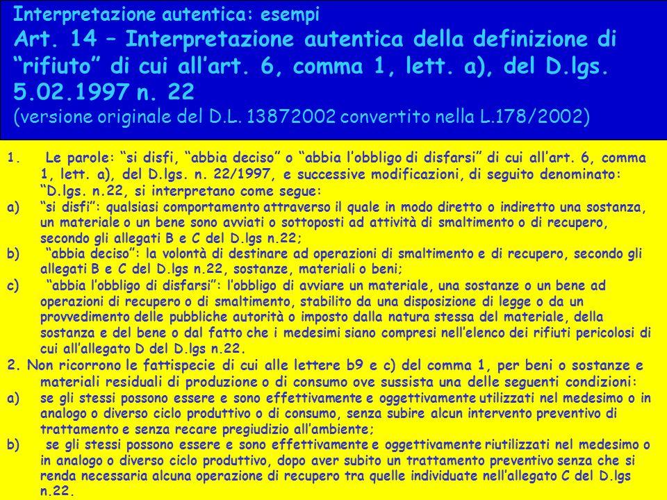 Interpretazione autentica: esempi Art. 14 – Interpretazione autentica della definizione di rifiuto di cui allart. 6, comma 1, lett. a), del D.lgs. 5.0