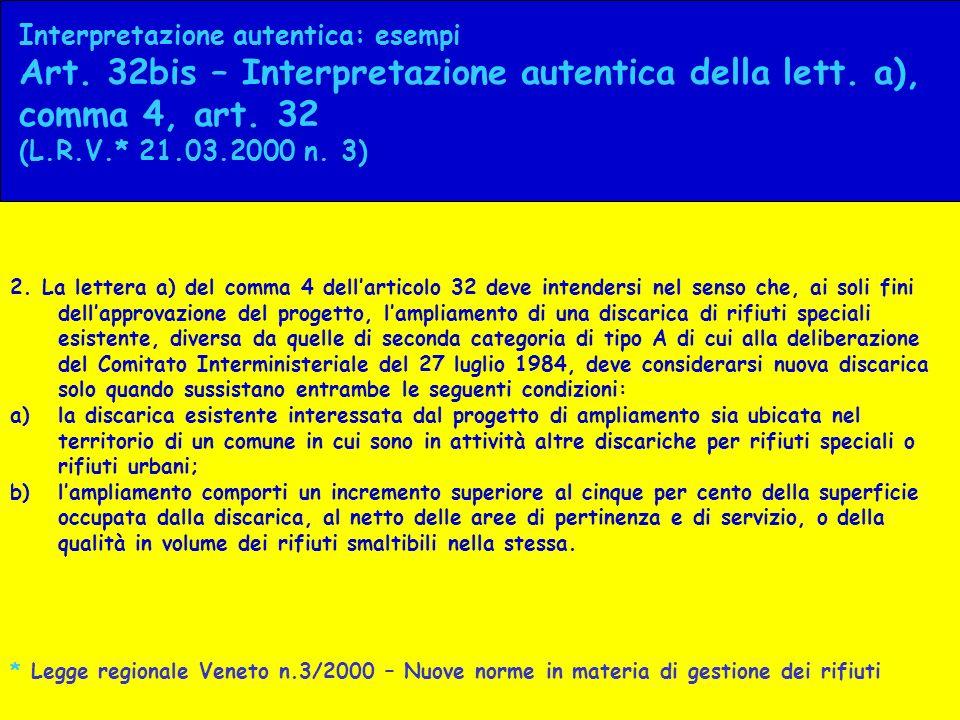 Interpretazione autentica: esempi Art. 32bis – Interpretazione autentica della lett. a), comma 4, art. 32 (L.R.V.* 21.03.2000 n. 3) 2. La lettera a) d