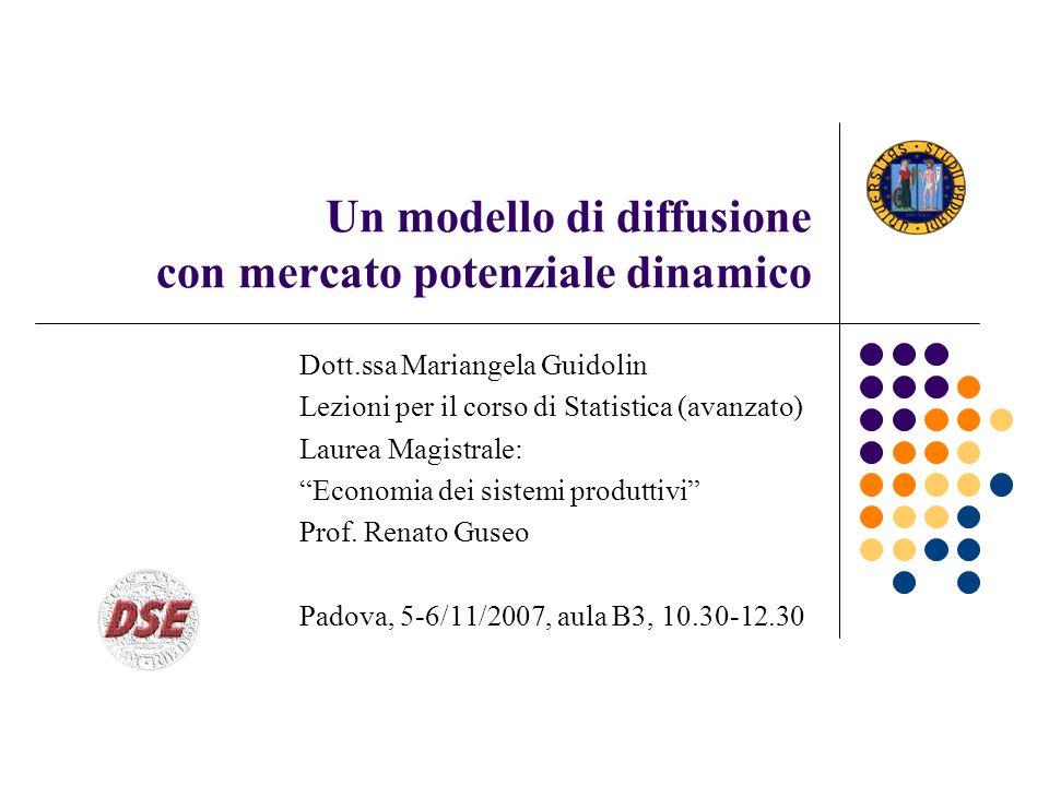 Un modello di diffusione con mercato potenziale dinamico Dott.ssa Mariangela Guidolin Lezioni per il corso di Statistica (avanzato) Laurea Magistrale: Economia dei sistemi produttivi Prof.