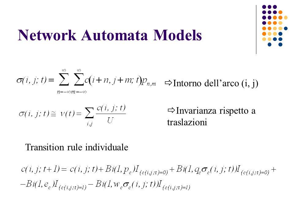 Network Automata Models Intorno dellarco (i, j) Invarianza rispetto a traslazioni Transition rule individuale
