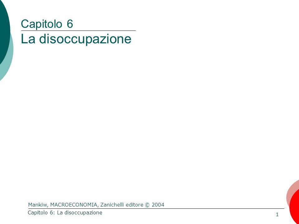 Mankiw, MACROECONOMIA, Zanichelli editore © 2004 1 Capitolo 6: La disoccupazione Capitolo 6 La disoccupazione