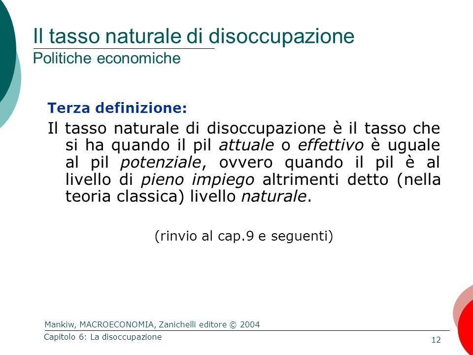 Mankiw, MACROECONOMIA, Zanichelli editore © 2004 12 Capitolo 6: La disoccupazione Il tasso naturale di disoccupazione Politiche economiche Terza defin