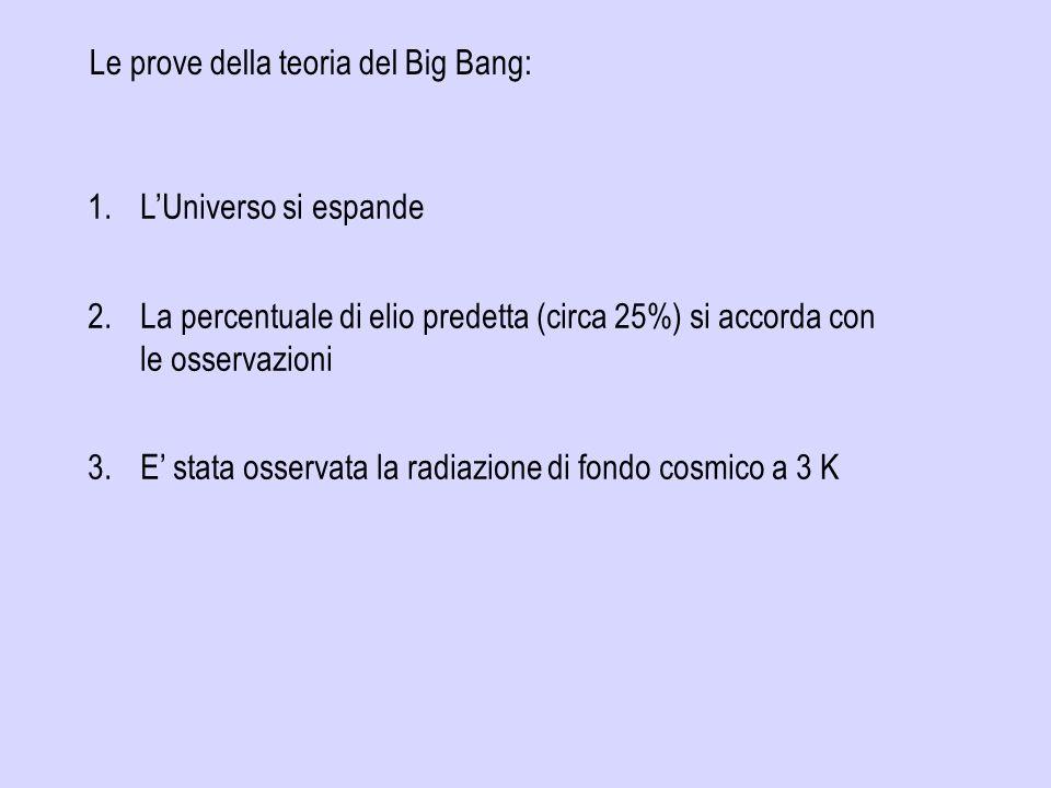 Le prove della teoria del Big Bang: 1.LUniverso si espande 2.La percentuale di elio predetta (circa 25%) si accorda con le osservazioni 3.E stata osse