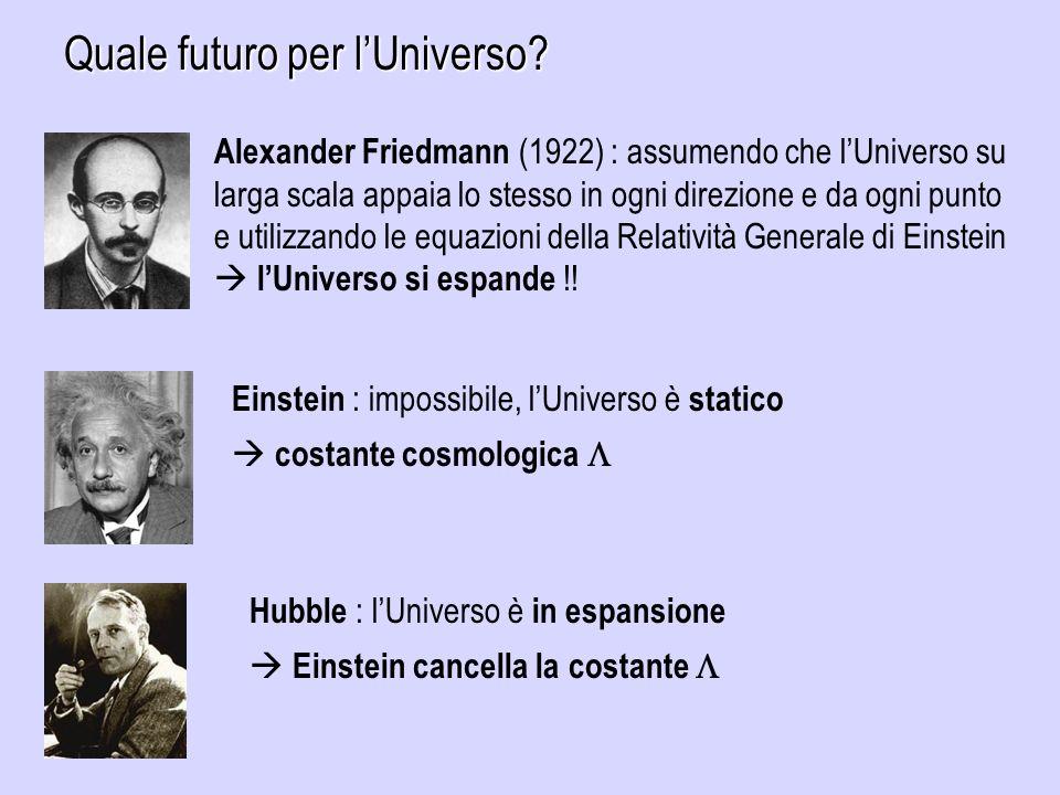 Quale futuro per lUniverso? Alexander Friedmann (1922) : assumendo che lUniverso su larga scala appaia lo stesso in ogni direzione e da ogni punto e u