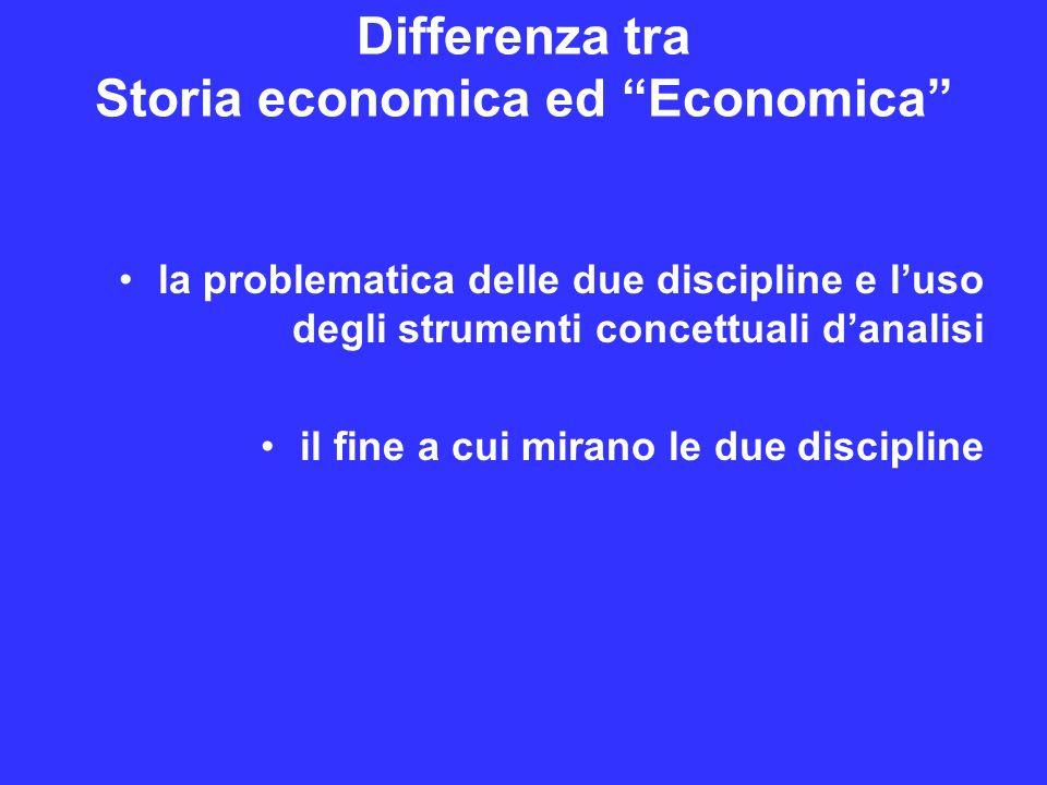 Differenza tra Storia economica ed Economica la problematica delle due discipline e luso degli strumenti concettuali danalisi il fine a cui mirano le due discipline