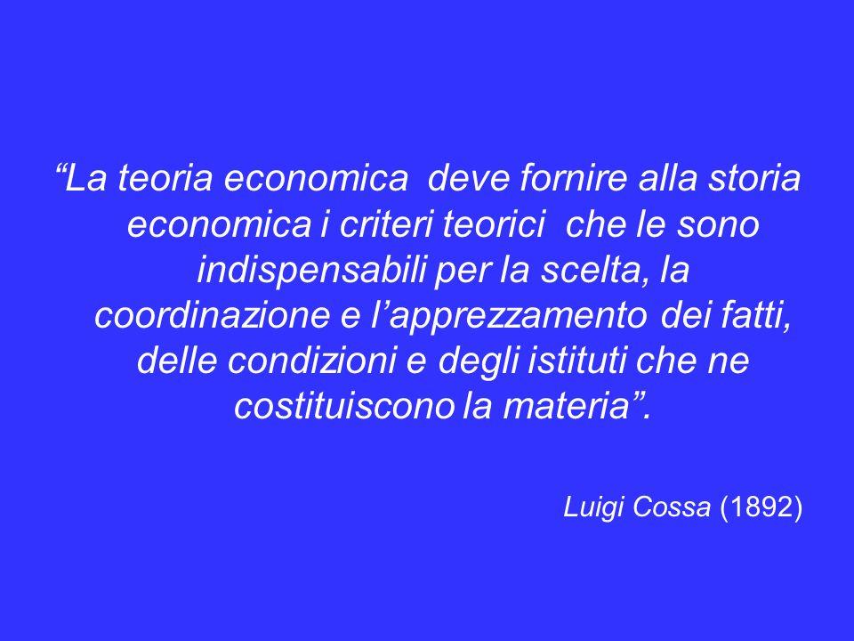 La teoria economica deve fornire alla storia economica i criteri teorici che le sono indispensabili per la scelta, la coordinazione e lapprezzamento dei fatti, delle condizioni e degli istituti che ne costituiscono la materia.