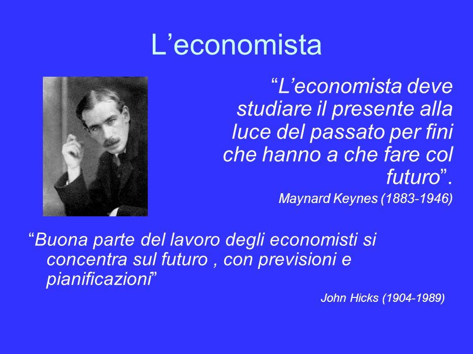 Leconomista Buona parte del lavoro degli economisti si concentra sul futuro, con previsioni e pianificazioni John Hicks (1904-1989) Leconomista deve studiare il presente alla luce del passato per fini che hanno a che fare col futuro.