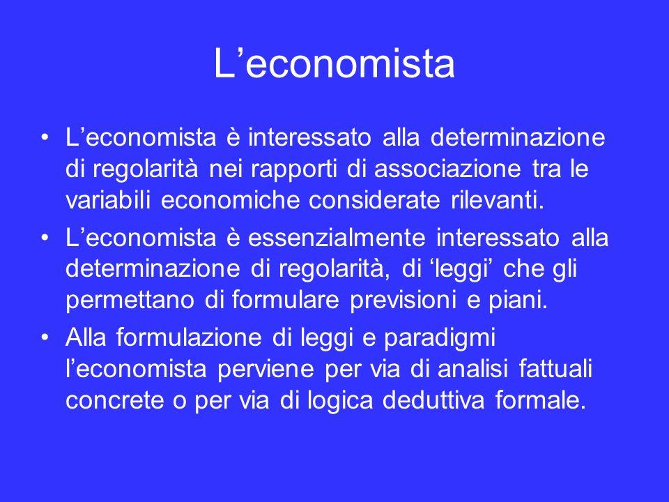Leconomista Leconomista è interessato alla determinazione di regolarità nei rapporti di associazione tra le variabili economiche considerate rilevanti.