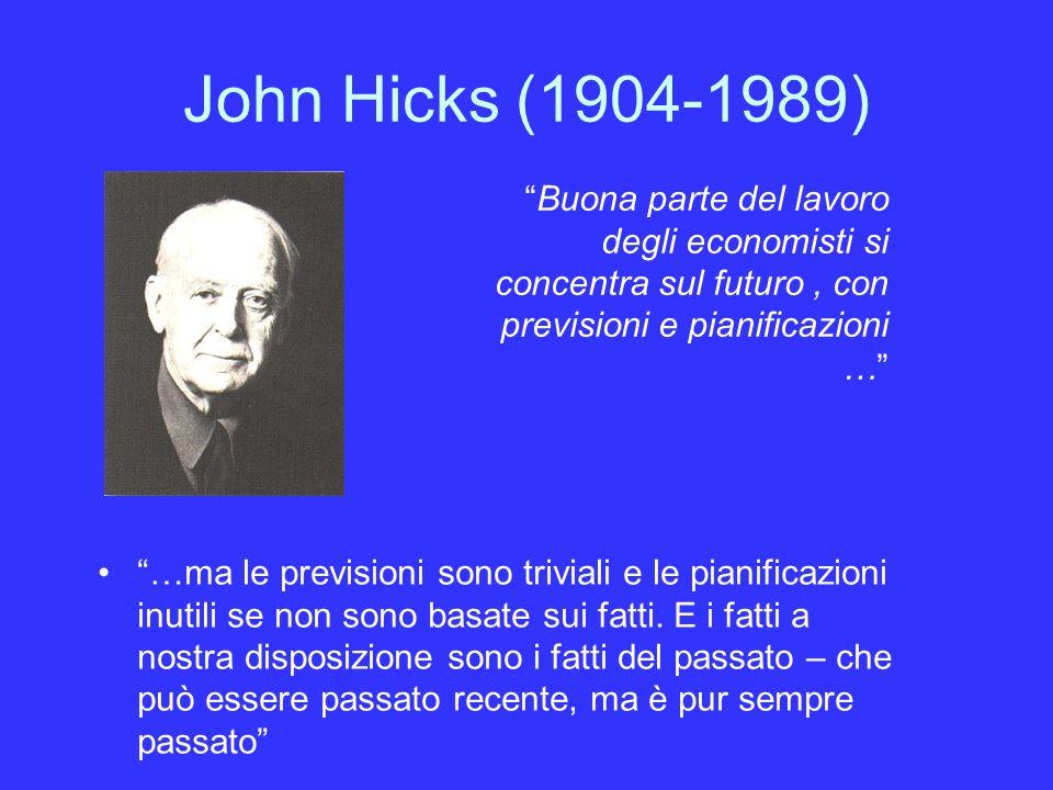 John Hicks (1904-1989) …ma le previsioni sono triviali e le pianificazioni inutili se non sono basate sui fatti.