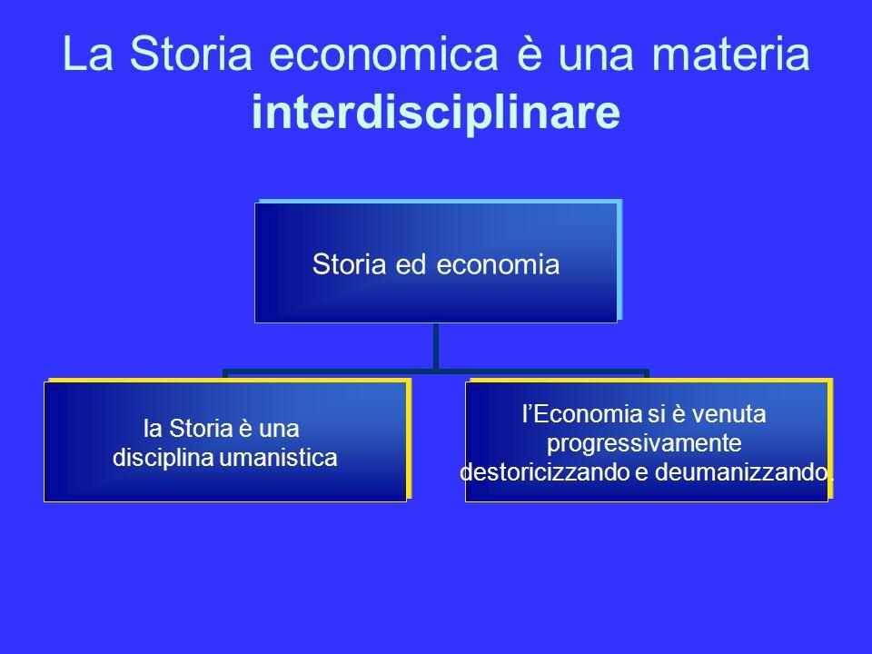 La Storia economica è una materia interdisciplinare Storia ed economia la Storia è una disciplina umanistica lEconomia si è venuta progressivamente destoricizzando e deumanizzando.