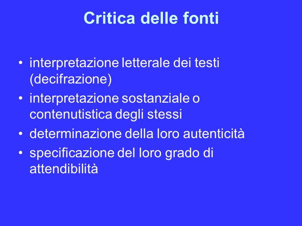 Critica delle fonti interpretazione letterale dei testi (decifrazione) interpretazione sostanziale o contenutistica degli stessi determinazione della loro autenticità specificazione del loro grado di attendibilità