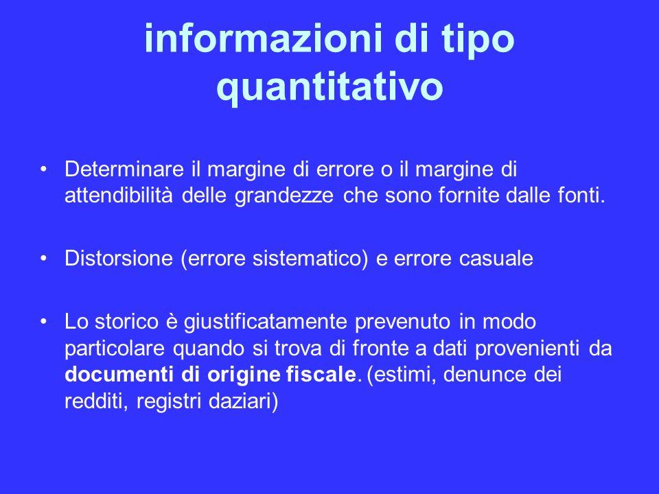 informazioni di tipo quantitativo Determinare il margine di errore o il margine di attendibilità delle grandezze che sono fornite dalle fonti.