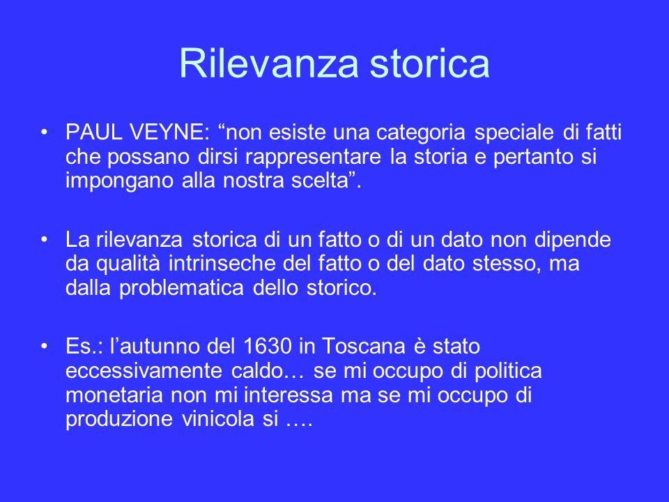 Rilevanza storica PAUL VEYNE: non esiste una categoria speciale di fatti che possano dirsi rappresentare la storia e pertanto si impongano alla nostra scelta.