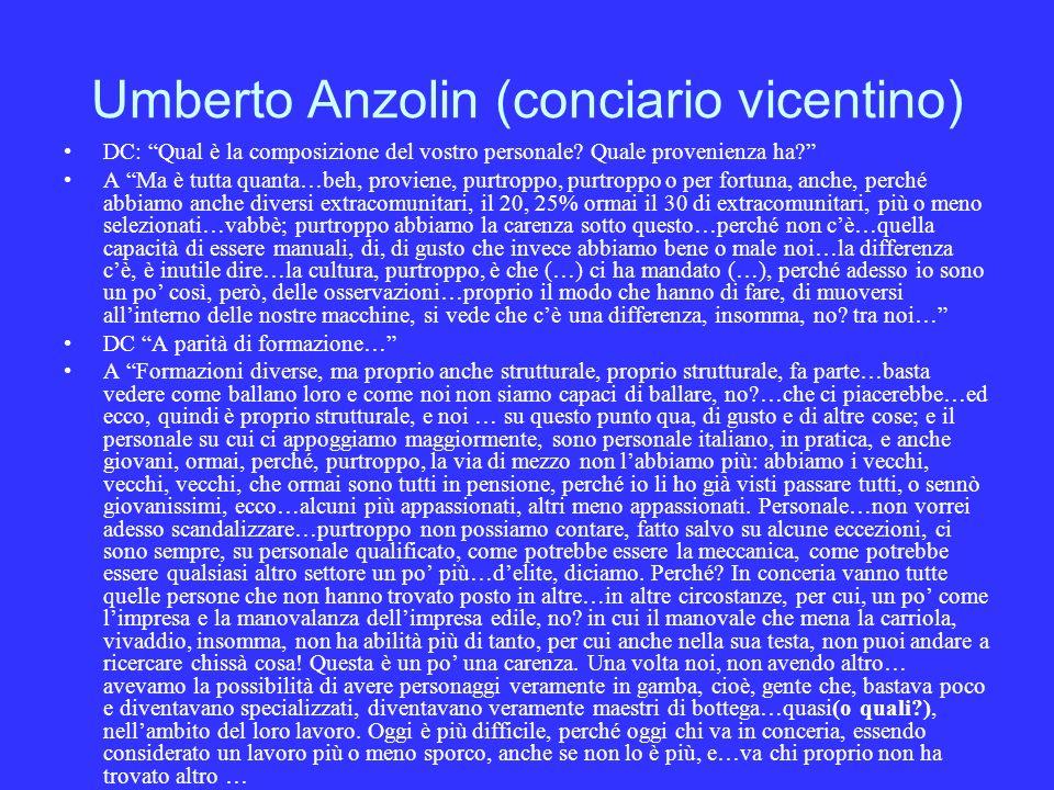 Umberto Anzolin (conciario vicentino) DC: Qual è la composizione del vostro personale.